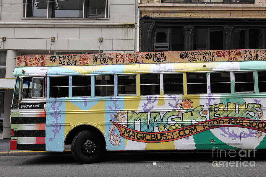 Retro 60s San Francisco Haight Ashbury Magic Bus - 5d17924 Photograph  - Retro 60s San Francisco Haight Ashbury Magic Bus - 5d17924 Fine Art Print