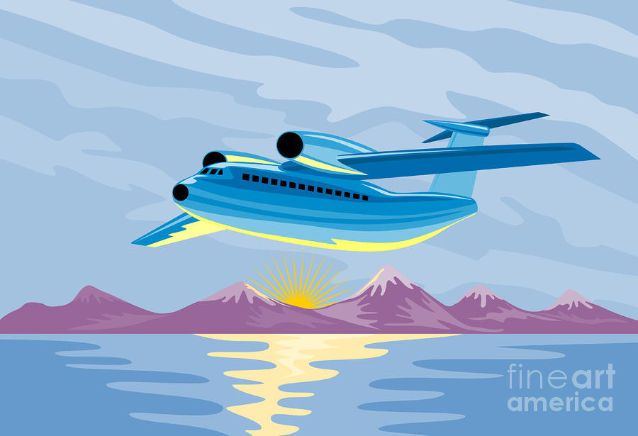 Retro Airliner Flying  Digital Art  - Retro Airliner Flying  Fine Art Print