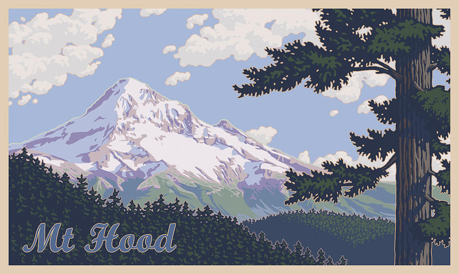 Retro Mount Hood Photograph  - Retro Mount Hood Fine Art Print