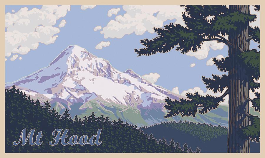 Retro Mount Hood Photograph