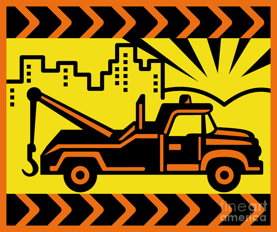Retro Tow Truck Digital Art