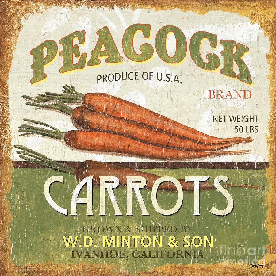 Retro Veggie Label 2 Painting by Debbie DeWitt - Retro Veggie ...