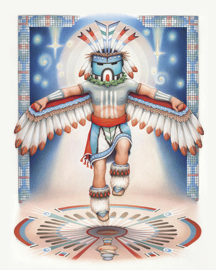 Return Of The Blue Star Kachina - Alignment 2012 Drawing  - Return Of The Blue Star Kachina - Alignment 2012 Fine Art Print
