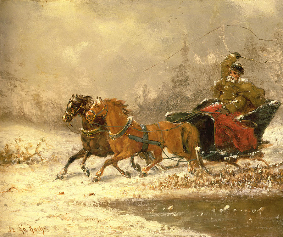 Returning Home In Winter Painting