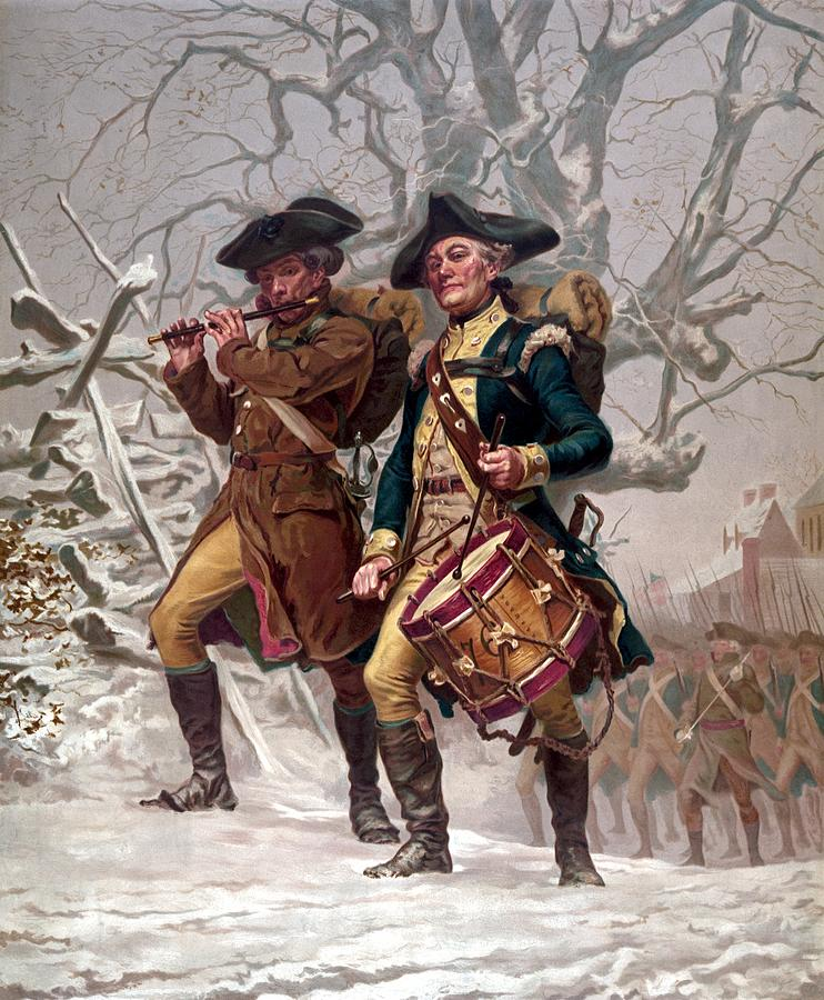 Revolutionary War Soldiers Marching Painting