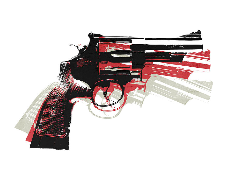 Revolver On White - Right Facing Digital Art