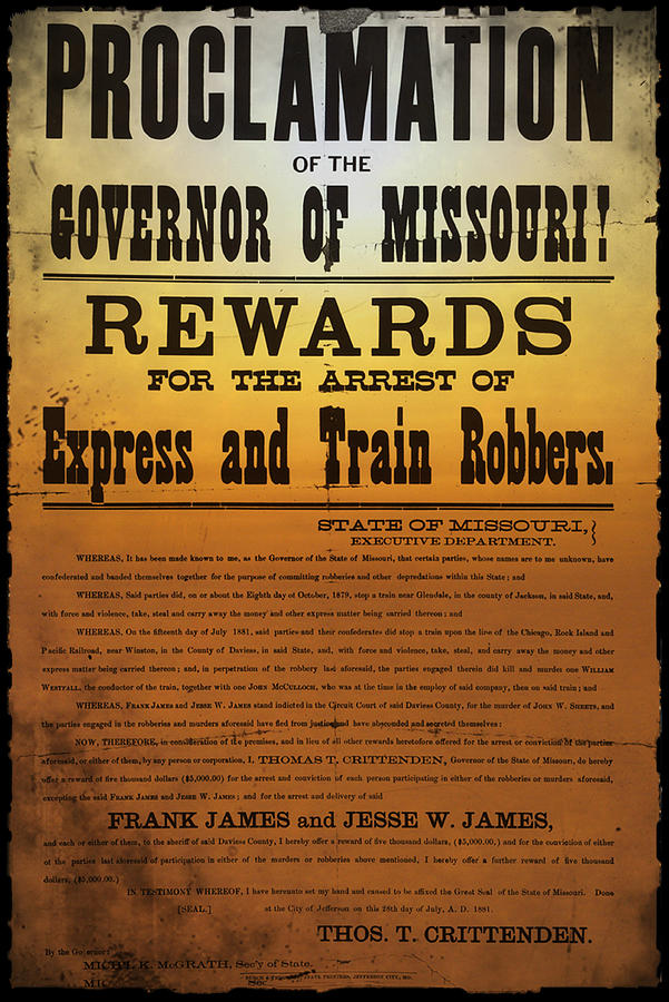 Reward For Frank And Jesse James Photograph  - Reward For Frank And Jesse James Fine Art Print