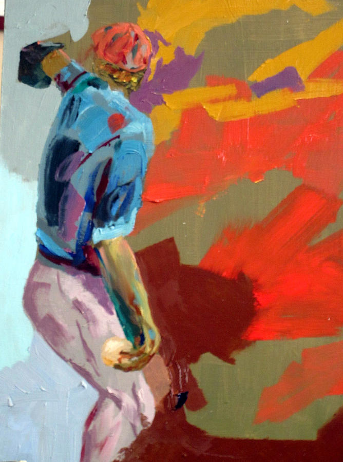 Baseball. Pitcher. Throwing. Painting - Rh Pitcher At Albuquerque Baseball Academy by Charles Schuch
