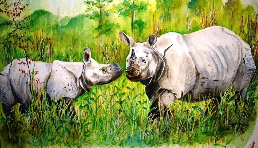 Rhinos In Kaziranga Painting