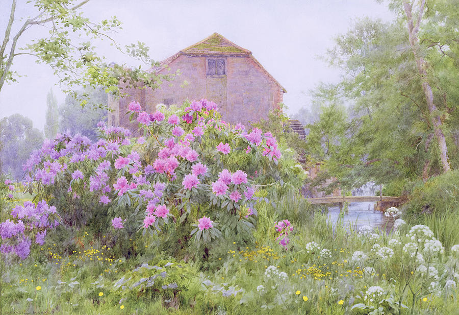 Rhododendrons By A Watermill Painting  - Rhododendrons By A Watermill Fine Art Print