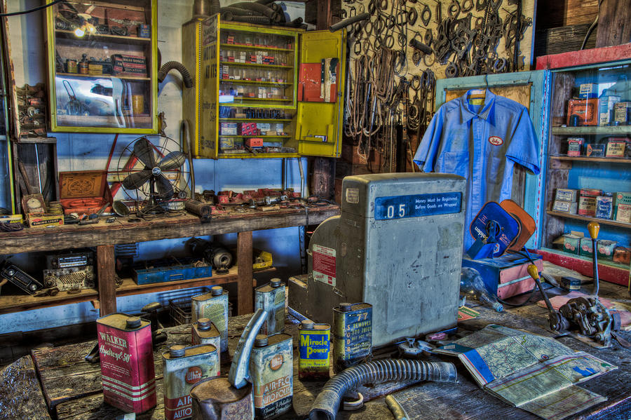Rickeys Garage Photograph  - Rickeys Garage Fine Art Print