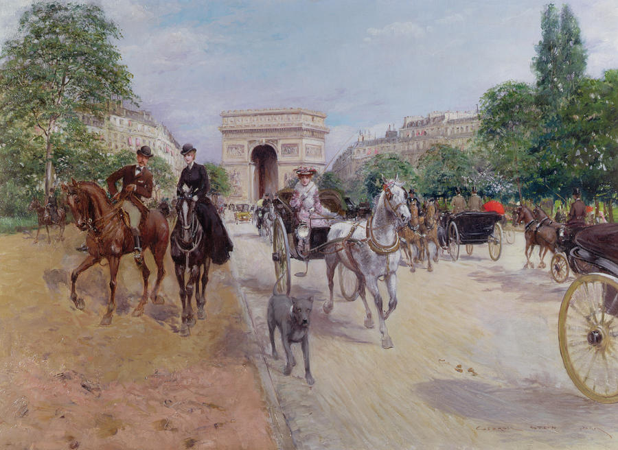 Riders And Carriages On The Avenue Du Bois Painting  - Riders And Carriages On The Avenue Du Bois Fine Art Print