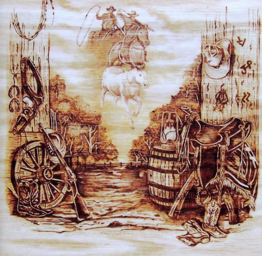Riders In The Sky Pyrography  - Riders In The Sky Fine Art Print