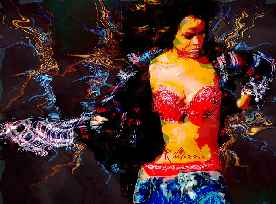 Rihanna Abstract By Gbs Digital Art  - Rihanna Abstract By Gbs Fine Art Print