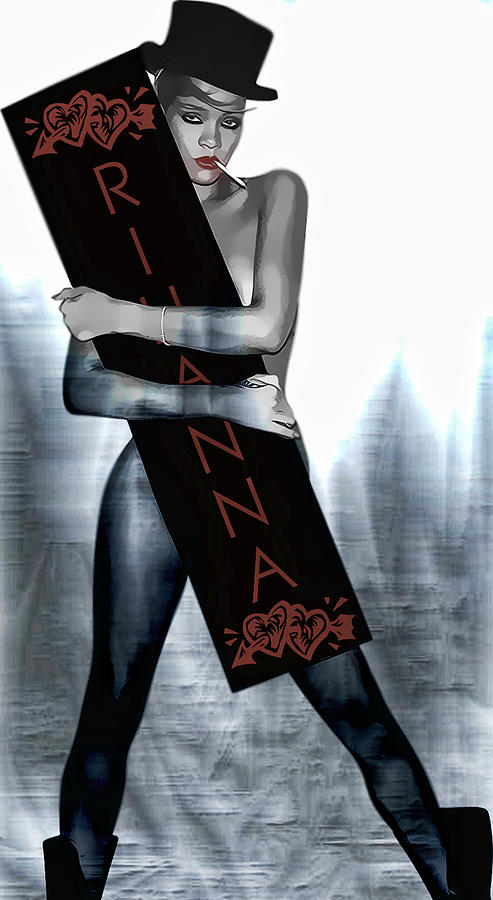 Rihanna Love Card By Gbs Digital Art  - Rihanna Love Card By Gbs Fine Art Print