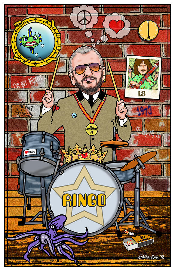 John Lennon Digital Art - Ringo Starr by John Goldacker