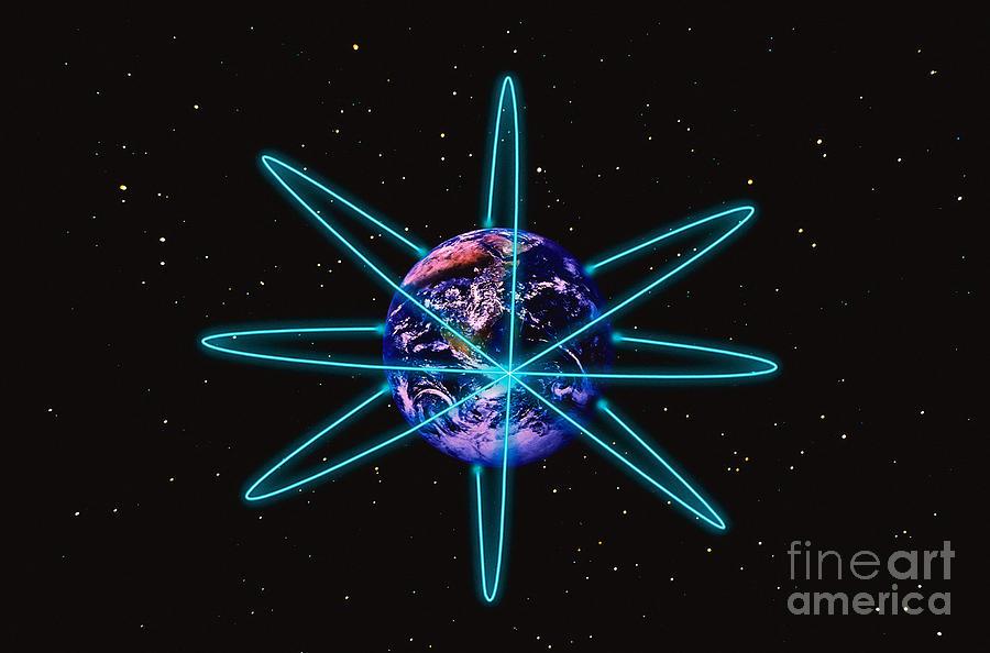 Horizontal Digital Art - Rings Around The Earth by Stocktrek Images