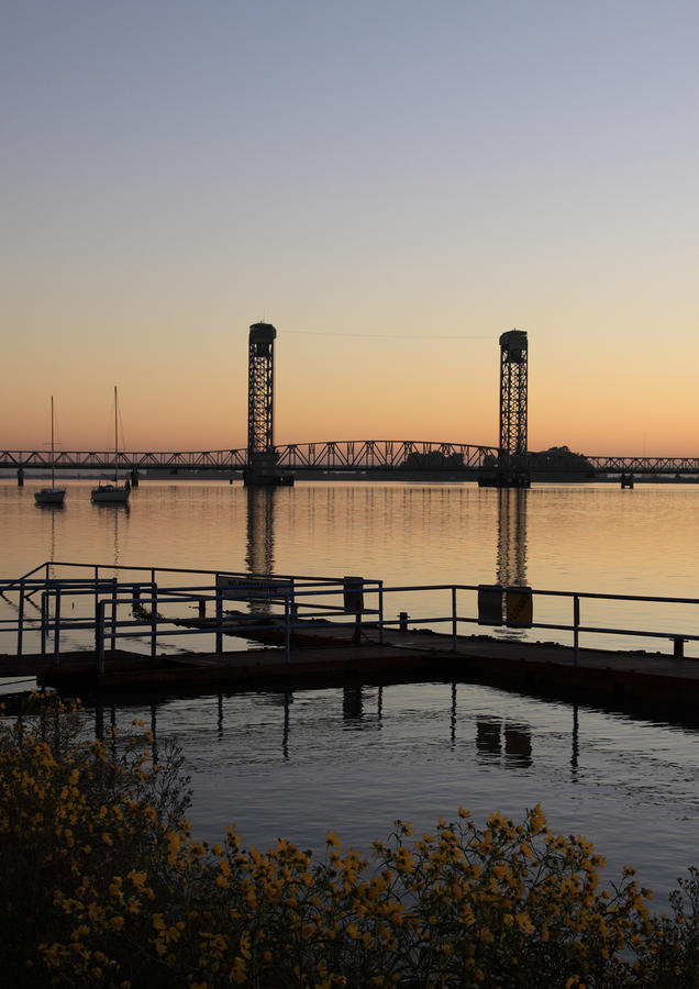 Rio Vista Bridge And Sail Boats Photograph