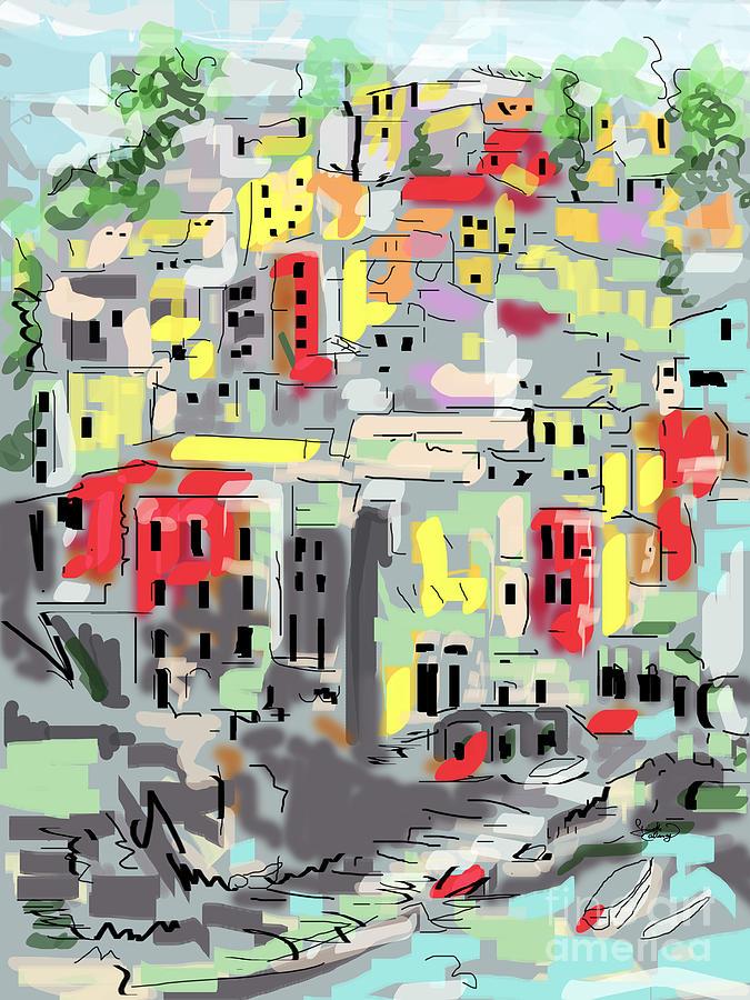Riomaggiore Digital Art - Riomaggiore Italy Moucasso Painting by Ginette Callaway