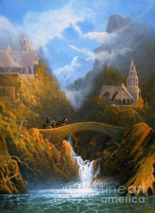 Rivendell The Lord Of The Rings Tolkien Inspired Art   Painting  - Rivendell The Lord Of The Rings Tolkien Inspired Art   Fine Art Print