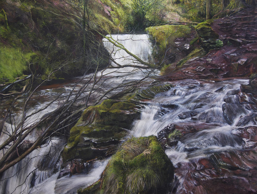 River At Talybont On Usk In The Brecon Beacons Painting  - River At Talybont On Usk In The Brecon Beacons Fine Art Print