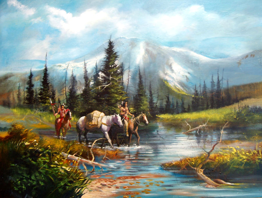 River Crossing Painting