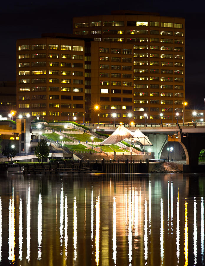 River Front At Night Photograph