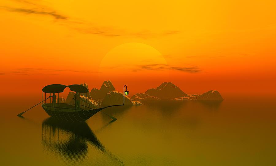 River Sunset Digital Art