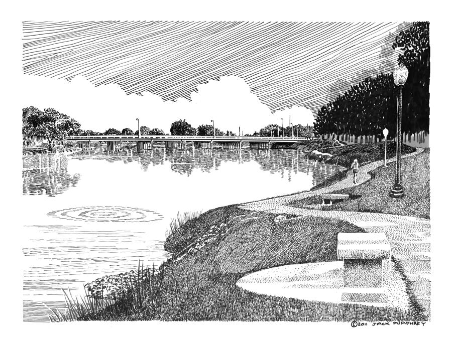Riverwalk On The Pecos Drawing  - Riverwalk On The Pecos Fine Art Print