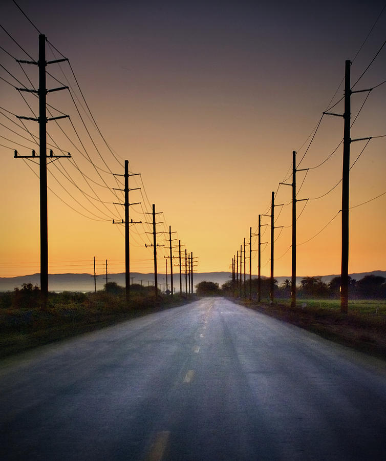 Road And Power Lines At Sunset Photograph  - Road And Power Lines At Sunset Fine Art Print