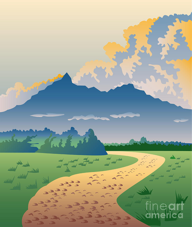 Road Leading To Mountains Digital Art  - Road Leading To Mountains Fine Art Print