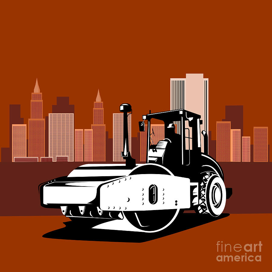 Road Roller  Retro  Digital Art  - Road Roller  Retro  Fine Art Print