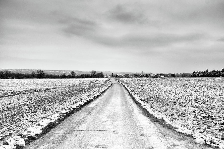 Road Through Snow Landscape Photograph  - Road Through Snow Landscape Fine Art Print