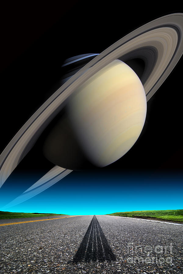Astronomy Photograph - Road To Saturn by Larry Landolfi and Photo Researchers