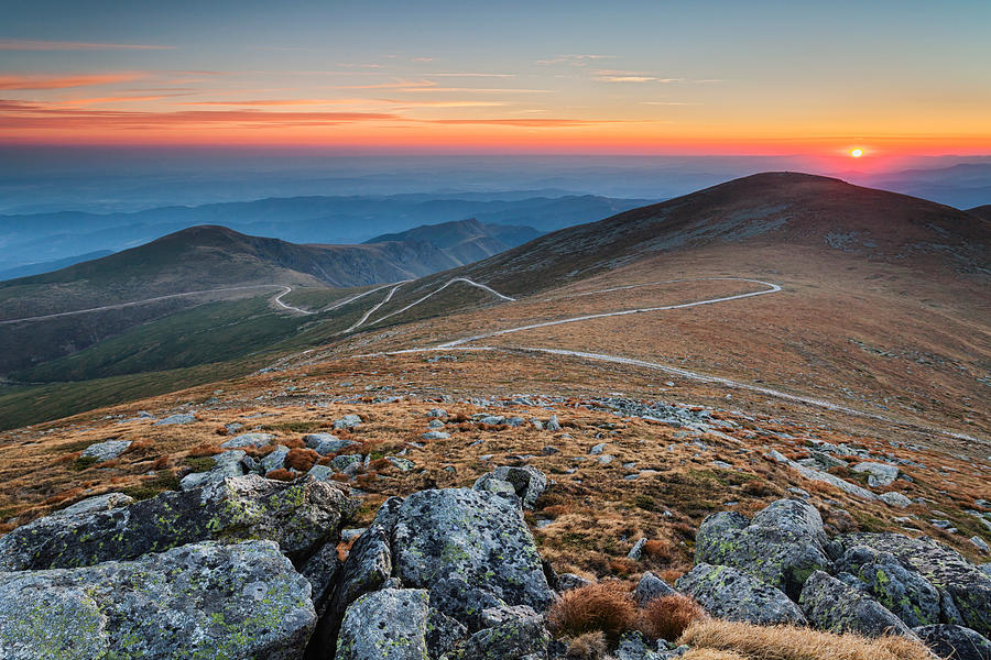 Balkan Mountains Photograph - Road To Sunrise by Evgeni Dinev