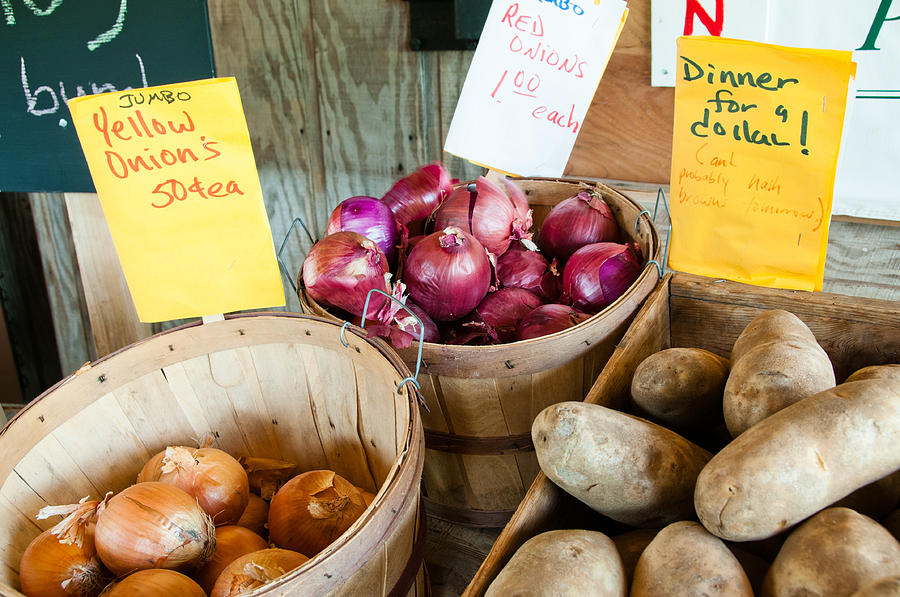 Skagit Photograph - Roadside Produce Stand Onions And Potatoes by Denise Lett