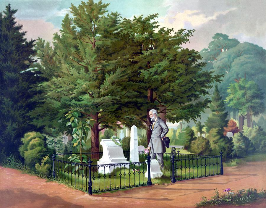 Robert E. Lee Visits Stonewall Jacksons Grave Painting