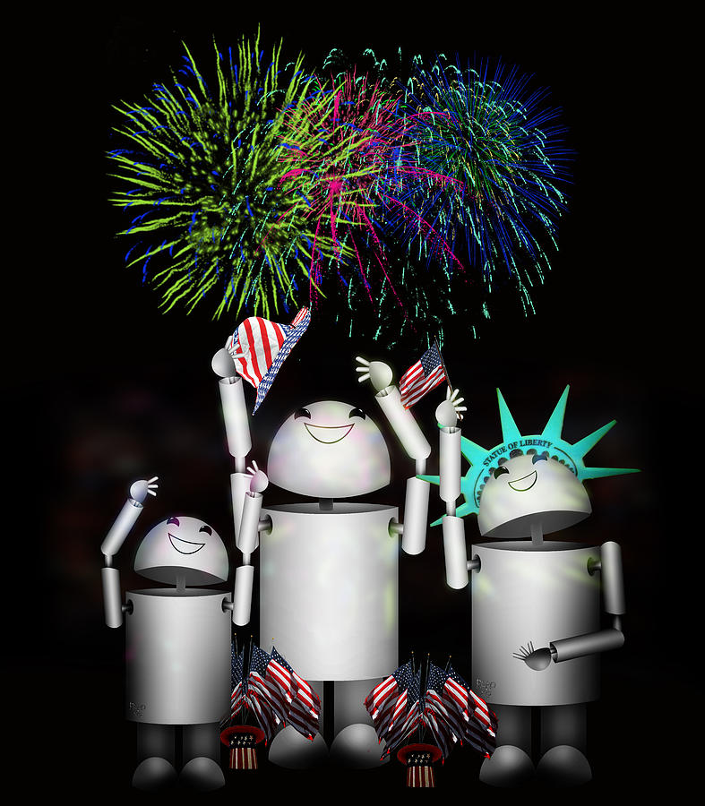 Robo-x9 And Family Celebrate Freedom Digital Art  - Robo-x9 And Family Celebrate Freedom Fine Art Print