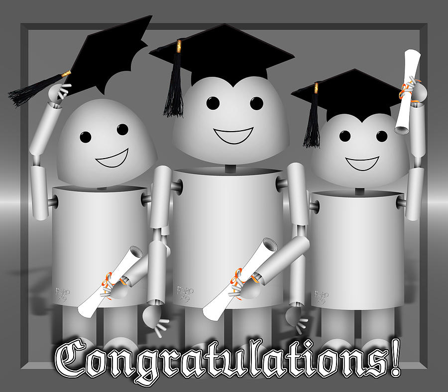Robo-x9 The Graduates Mixed Media  - Robo-x9 The Graduates Fine Art Print