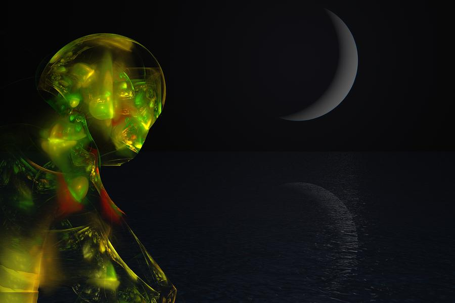 Robot Moonlight Serenade Digital Art