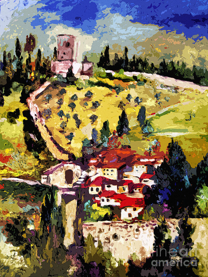 Rocca Maggiore Assisi Italy Painting