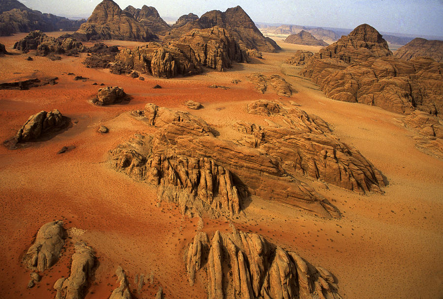 Outdoors Photograph - Rock Formations And Sand Near Petra by Annie Griffiths