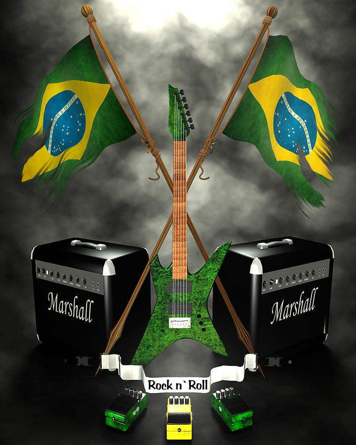 Rock N Roll Crest - Brazil Digital Art  - Rock N Roll Crest - Brazil Fine Art Print