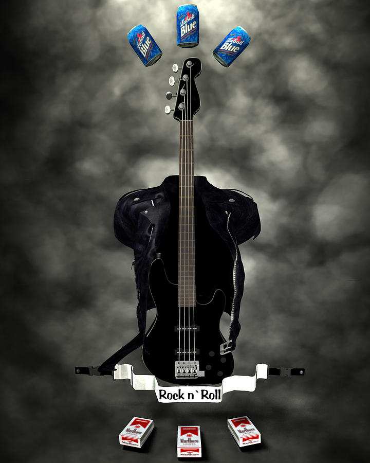 Rock N Roll Crest-the Bassist Digital Art  - Rock N Roll Crest-the Bassist Fine Art Print