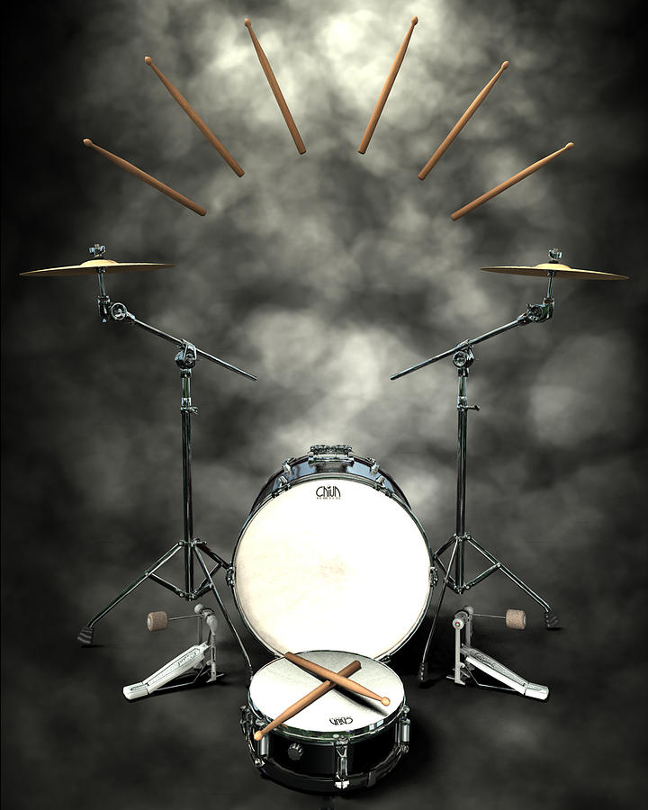 Rock N Roll Crest-the Drummer Digital Art  - Rock N Roll Crest-the Drummer Fine Art Print