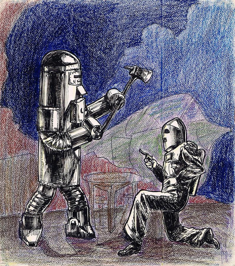 Rocket Man And Robot Drawing