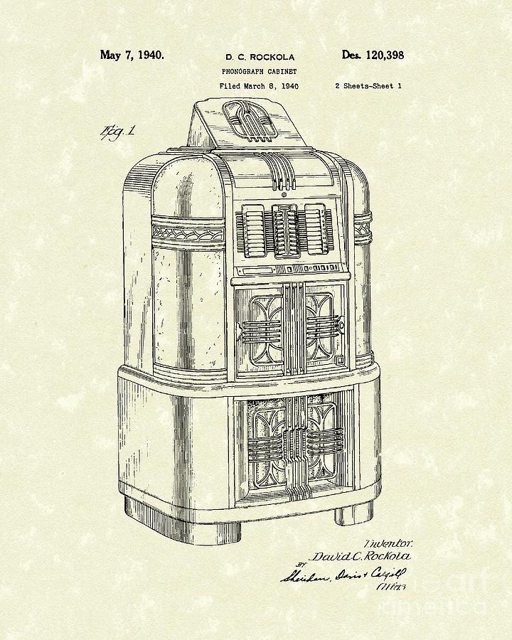 Rockola Phonograph Cabinet 1940 Patent Art Drawing