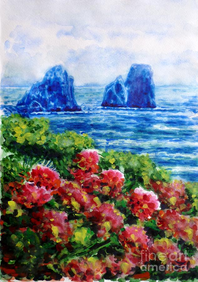 Rocks Of Capri Painting  - Rocks Of Capri Fine Art Print