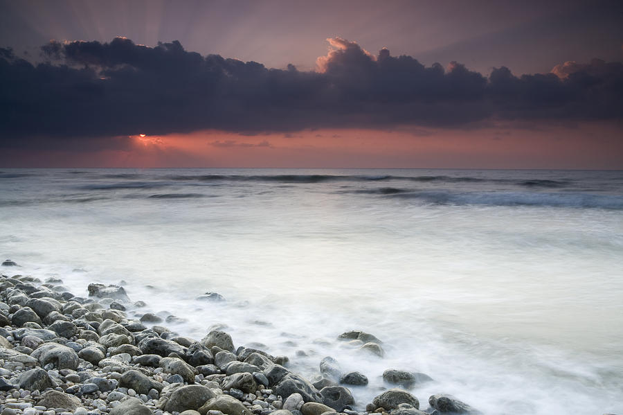 Rocky Beach At Sunrise Hawf Protected Photograph