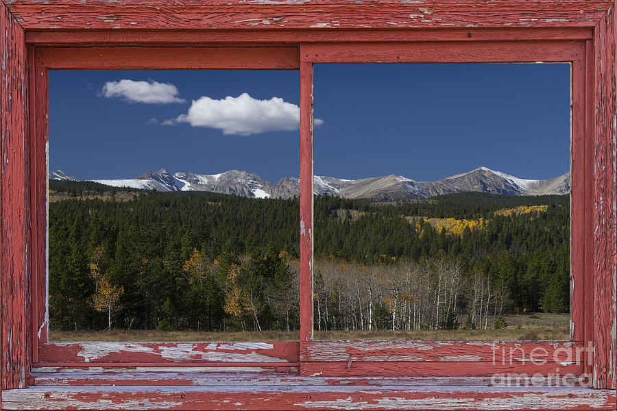 Rocky Mountain Autumn Red Rustic Picture Window Frame Photos Art Photograph  - Rocky Mountain Autumn Red Rustic Picture Window Frame Photos Art Fine Art Print